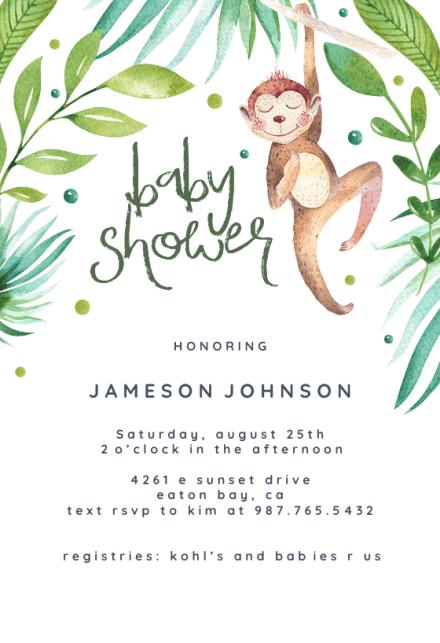 Hanging Monkey Baby Shower Invitation Template Free