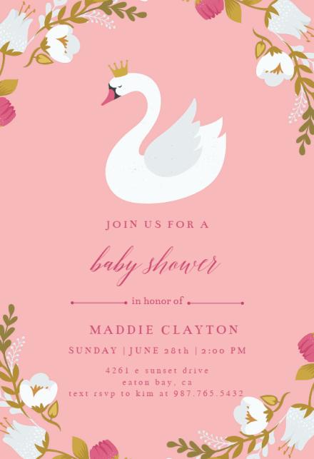 Swan Baby Shower Invitation Template