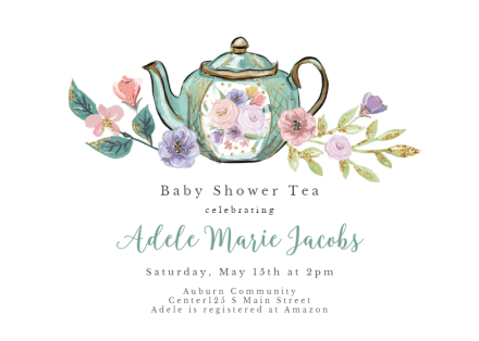 Tea Party Baby Shower Invitation Template Free