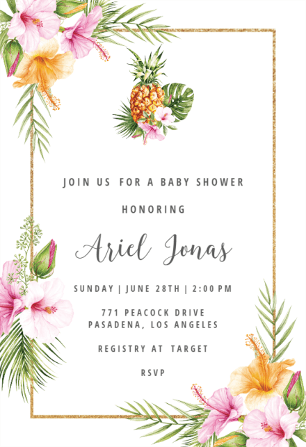 Tropical Pinele Baby Shower Invitation Template Free