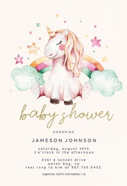 Unicorn And Rainbow Baby Shower Invitation Template Free