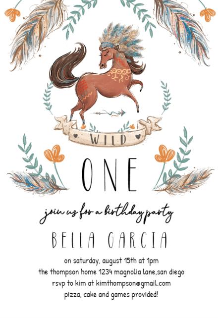 boho horse birthday invitation