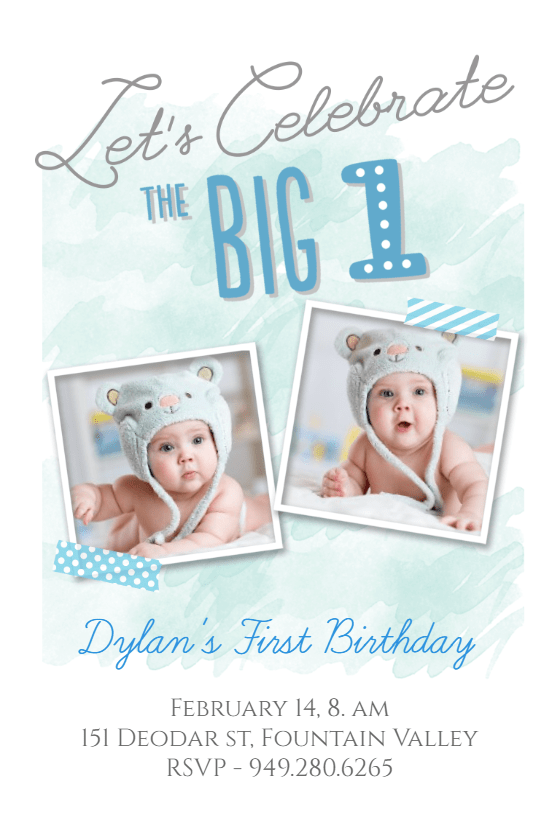 the big one boy birthday invitation