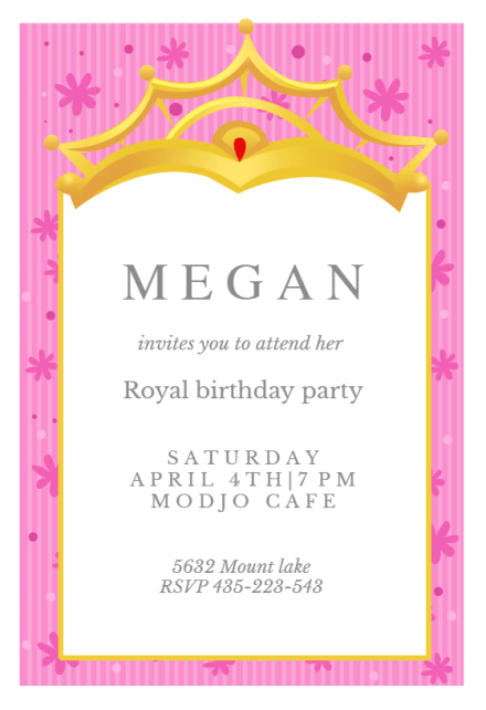 a little princess birthday invitation
