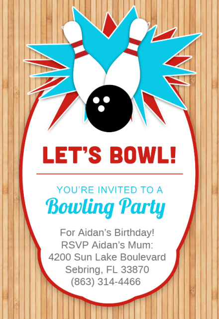 Bowling Party Invitation Template Free Greetings Island