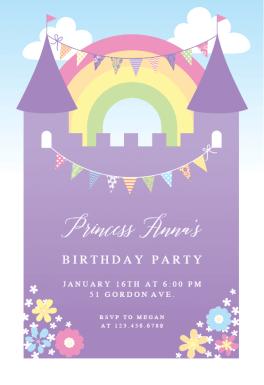 Purple Castle Free Birthday Invitation Template