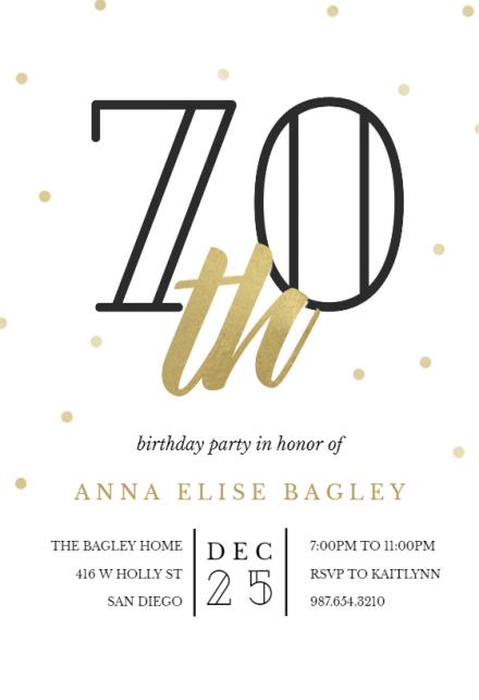 Golden Age 70 Birthday Invitation Template Free Greetings Island