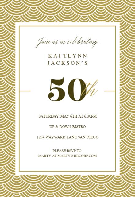 50th Golden Birthday Birthday Invitation Template Free