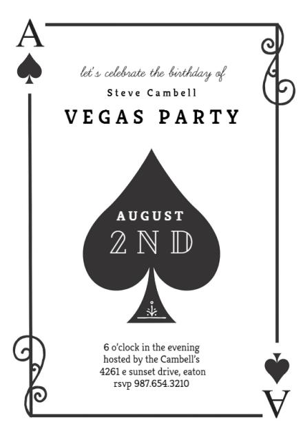 ace of spades birthday invitation