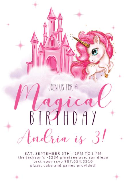 birthday unicorn birthday invitation
