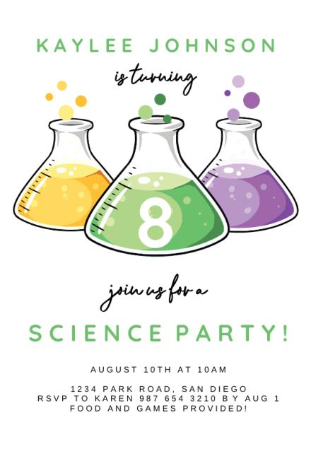 colorful science beakers birthday