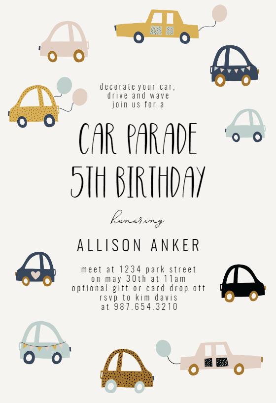 cute cars birthday invitation