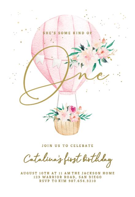 Floral Hot Air Balloon Birthday Invitation Template Greetings Island