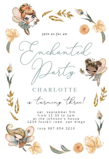 fairies birthday invitation template