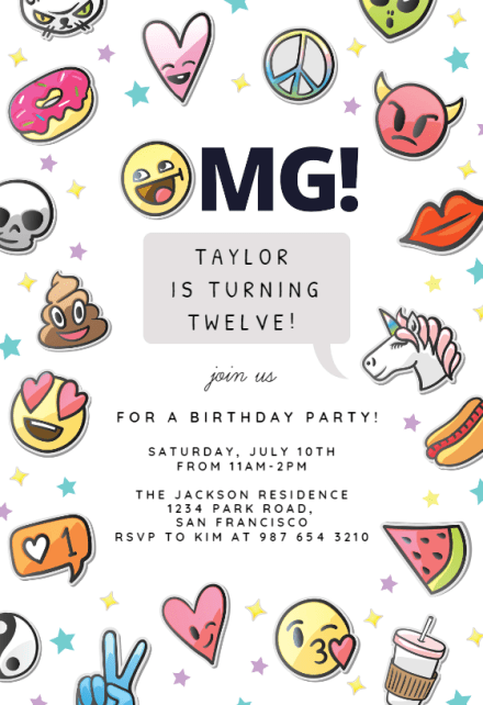 emoji birthday invitation templates