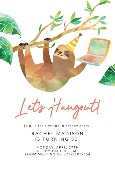 hanging sloth birthday invitation