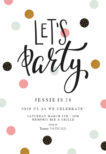 Lets Party Birthday Invitation Template Free Greetings