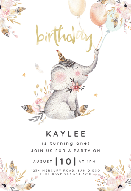 Lovely Elephant Birthday Invitation