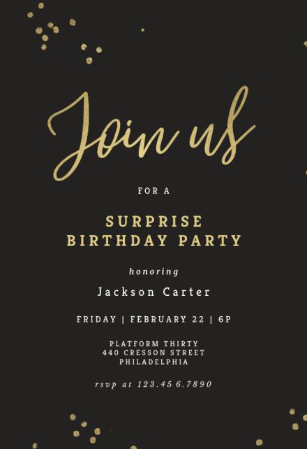 Surprise Birthday Invitation Templates Free Greetings Island