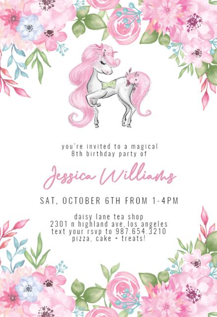 unicorn invitation templates free