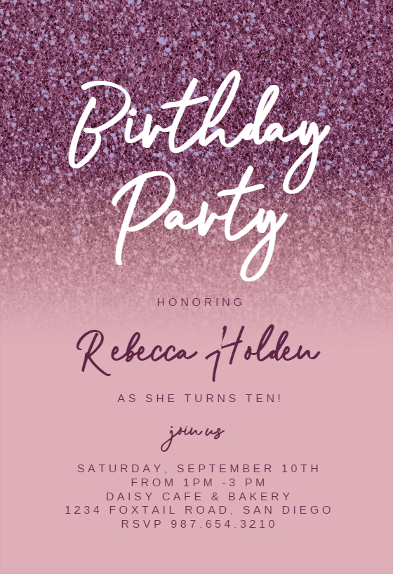 rose gold glitter birthday invitation