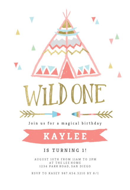 wild one teepee birthday invitation
