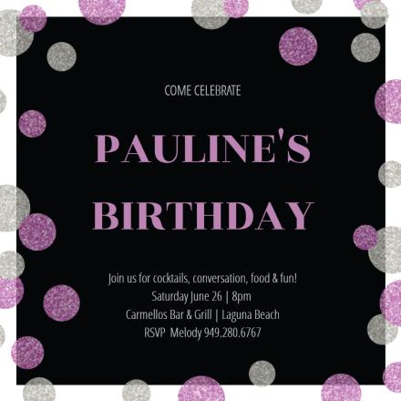 purple dots birthday invitation