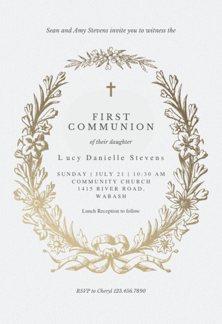 golden wreath first holy communion