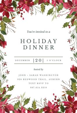 Watercolor Poinsettia Free Christmas Invitation Template