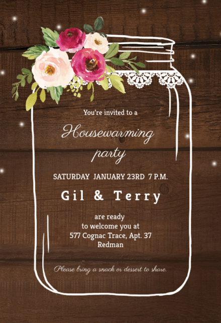 Jar Of Love Housewarming Invitation
