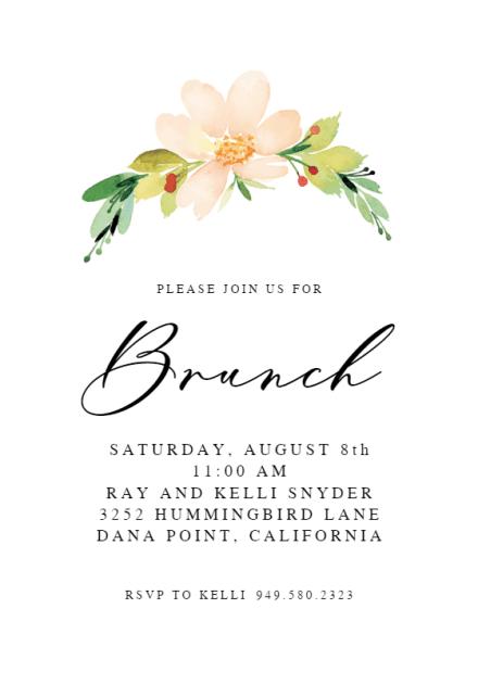 pink flower brunch lunch invitation