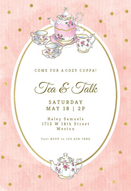 tea party invitation templates free
