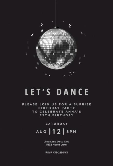 disco ball party invitation template
