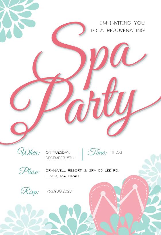 spa splendors party invitation