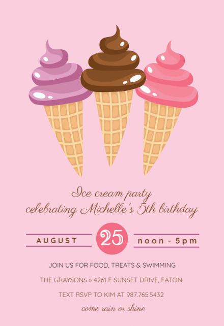 Ice Cream Pool Party Invitation Template Free Greetings Island