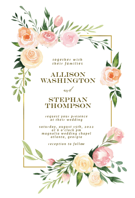 floral wedding invitation templates