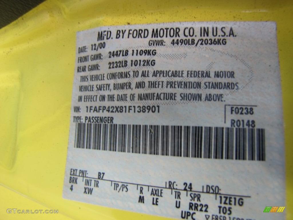 2001 Mustang Color Code B7 For Zinc Yellow Metallic Photo