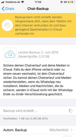 Backup Bei Whatsapp Geht Nicht Hilfe Apple Backup Erstellen