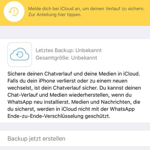 Whatsapp Chat Backup Geht Nicht Iphone Itunes Icloud