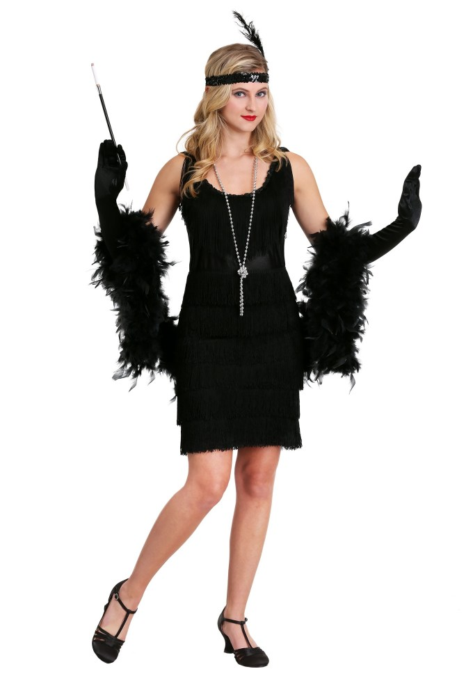 Classy Black Flapper Costume - 20s Vintage Womens Flapper ...