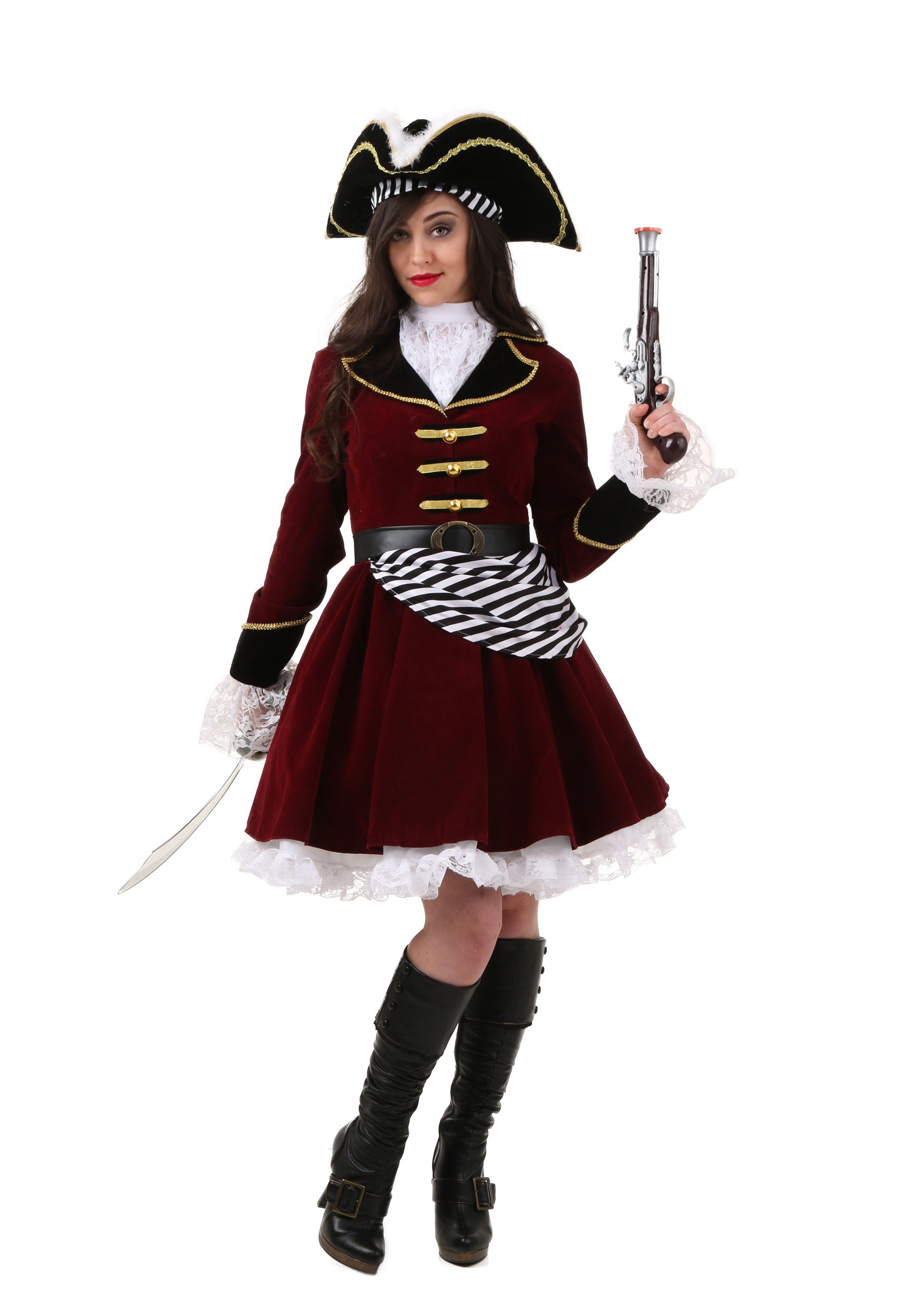 Plus Size Womens Captain Hook Costume With Hat