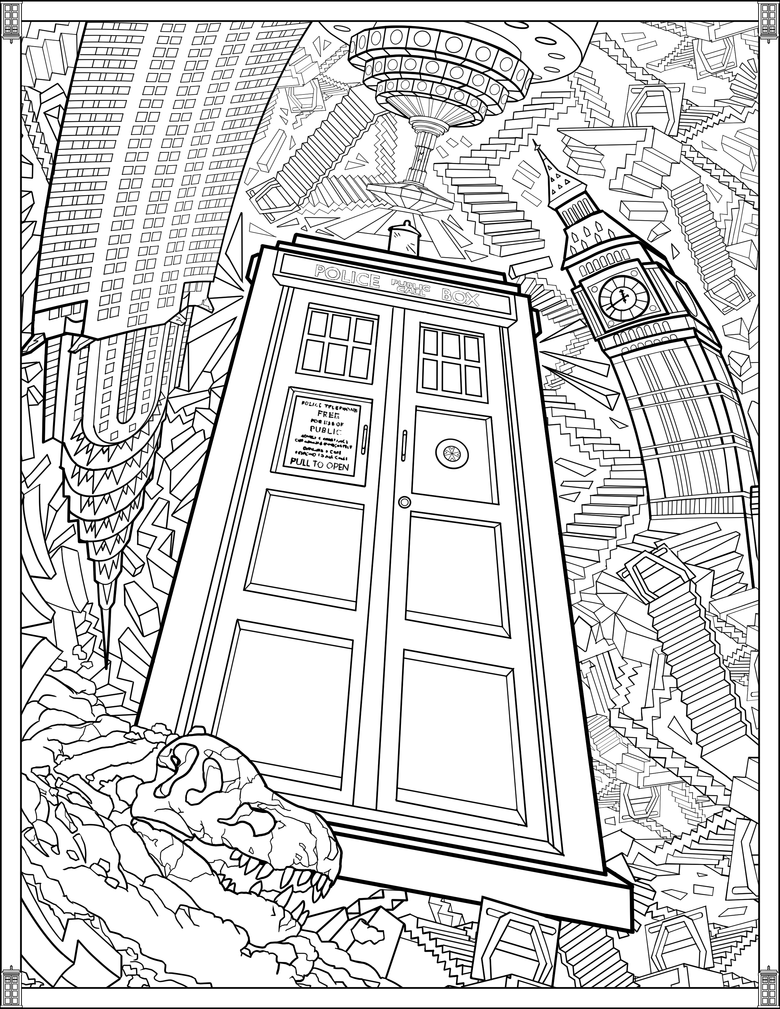 Doctor Who Wibbly Wobbly Timey Wimey Coloring Pages Printables Fun Com Blog