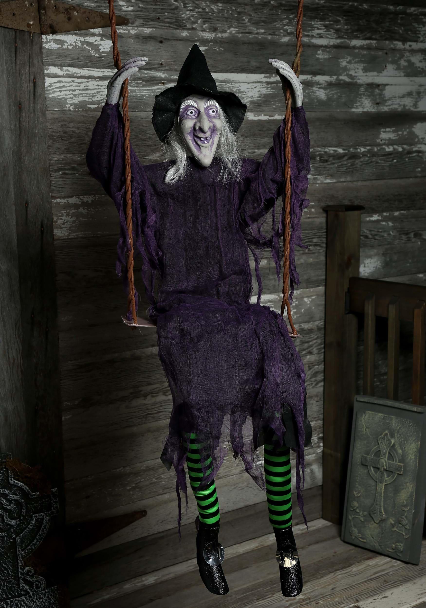 swinging witch decoration