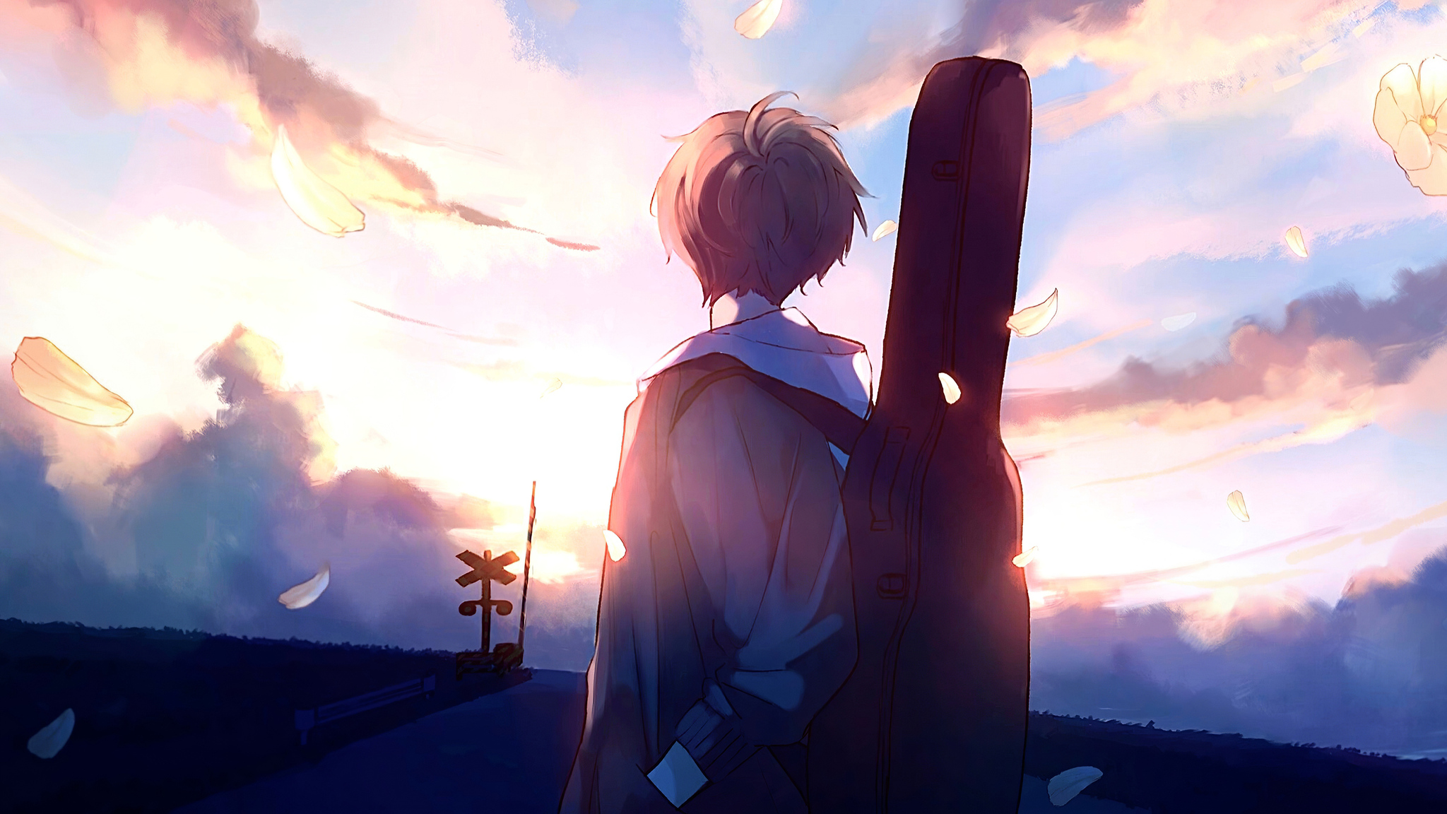 2048x1152 Anime Boy Guitar Painting 2048x1152 Resolution Hd 4k Wallpapers Images Backgrounds Photos And Pictures