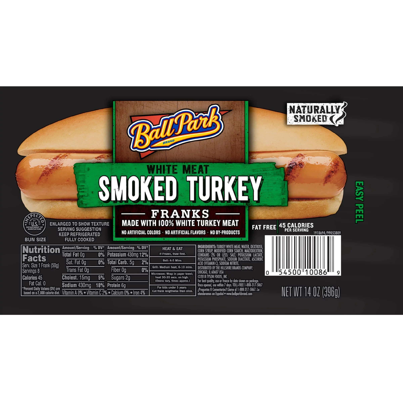 ball park smoked white meat turkey hot dogs bunsize length