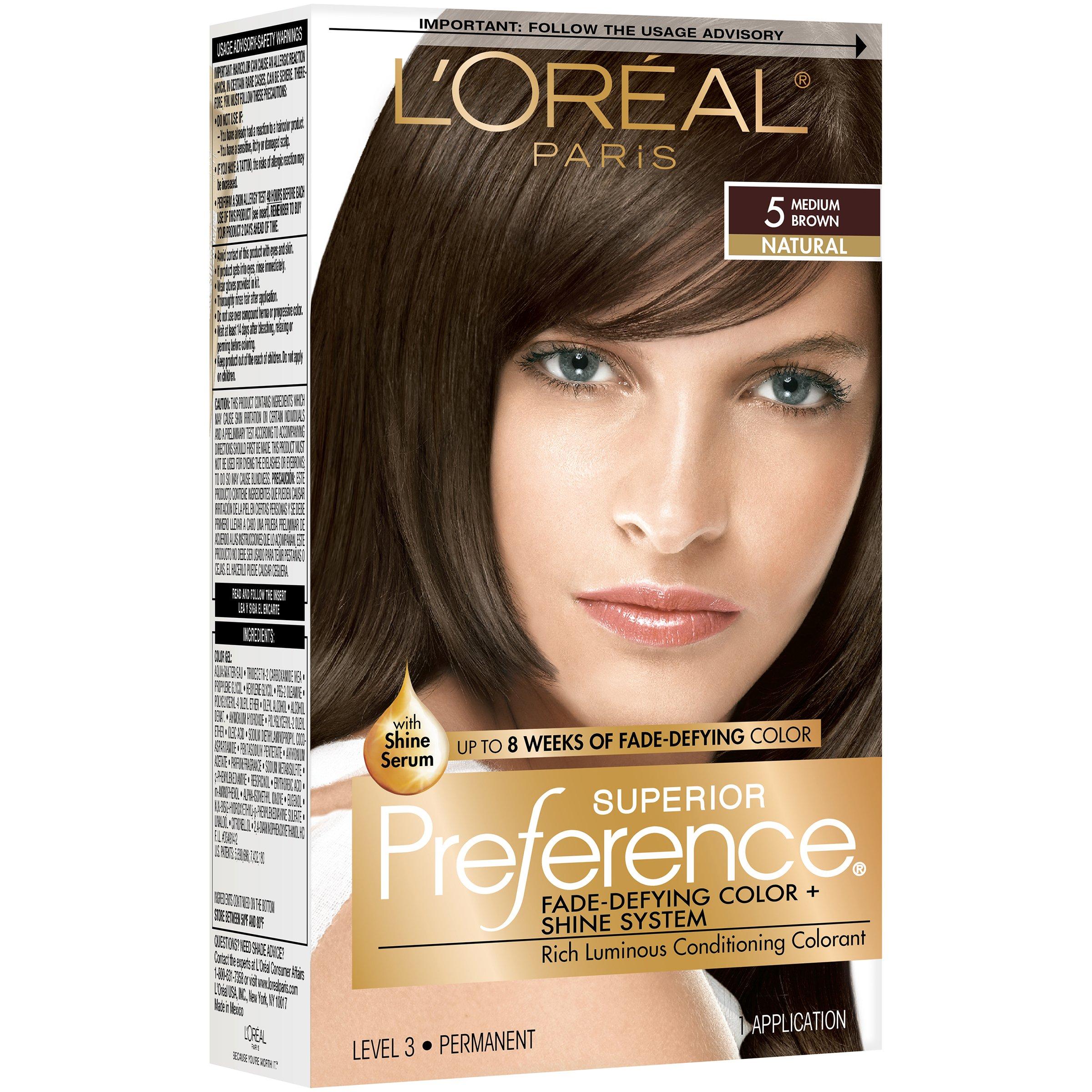 L Oreal Paris Superior Preference Permanent Hair Color 5 Medium Brown Shop Hair Color At H E B