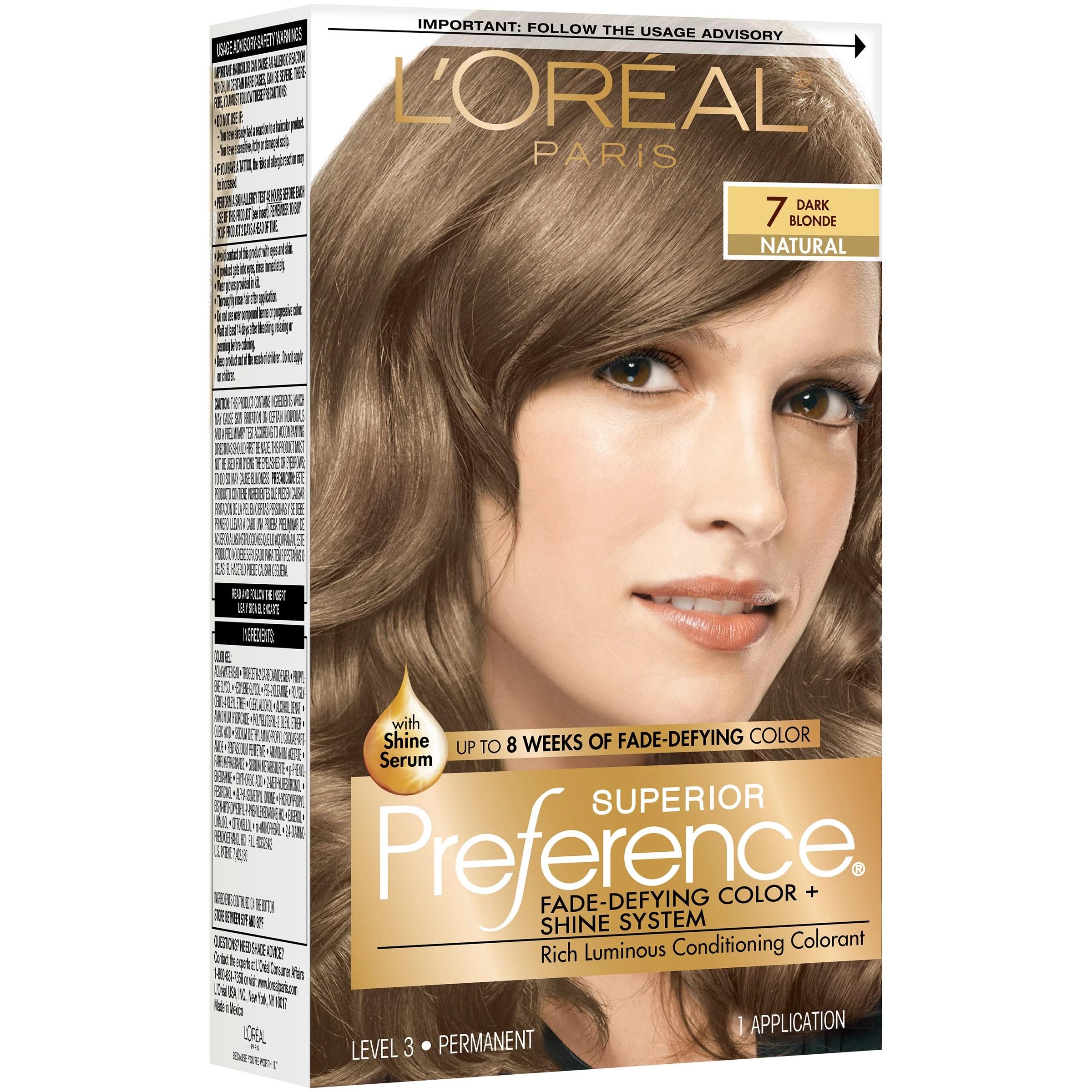 L Oreal Paris Superior Preference Permanent Hair Color 7 Dark Blonde Shop Hair Color At H E B