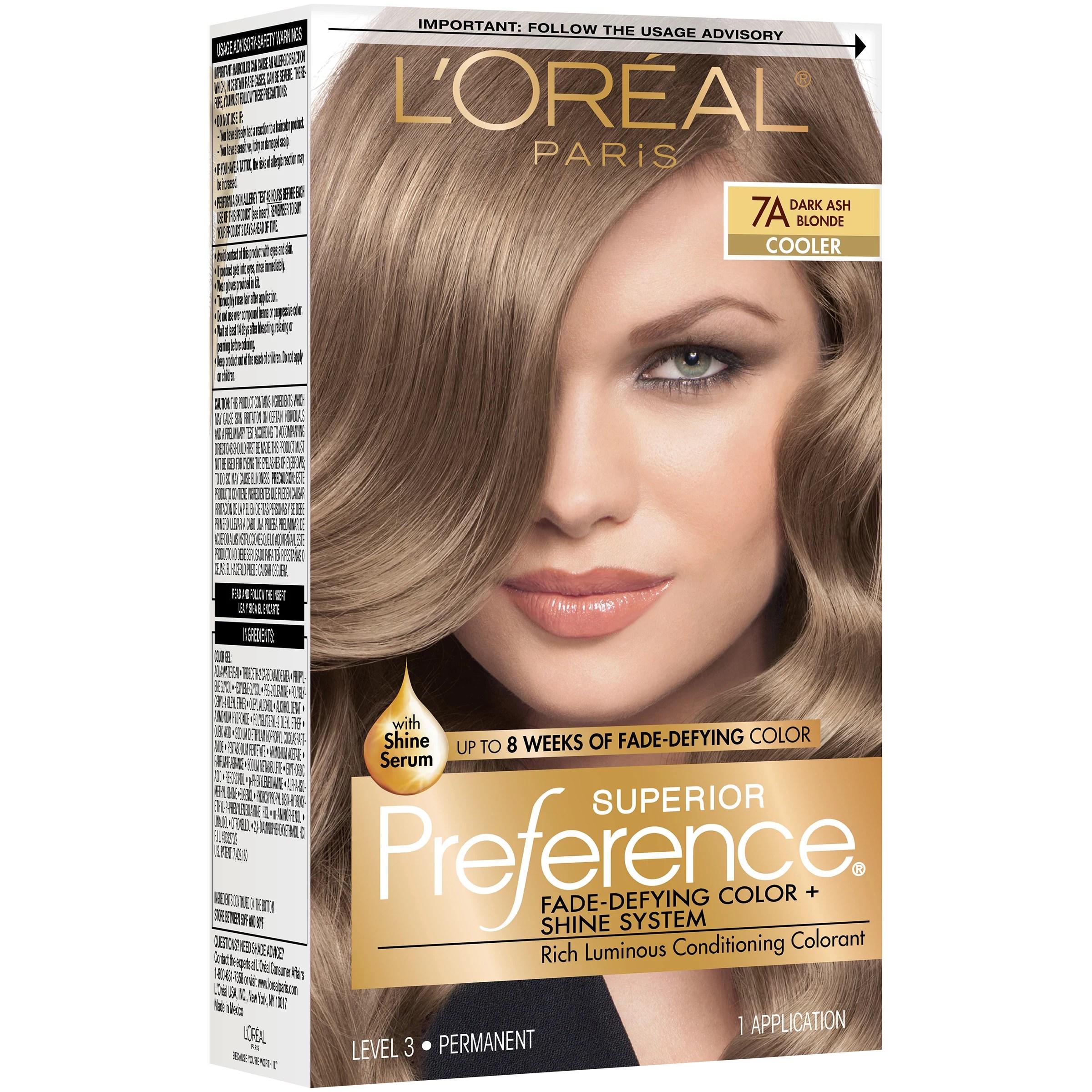 L Oreal Paris Superior Preference Permanent Hair Color 7a Dark Ash Blonde Shop Hair Color At H E B