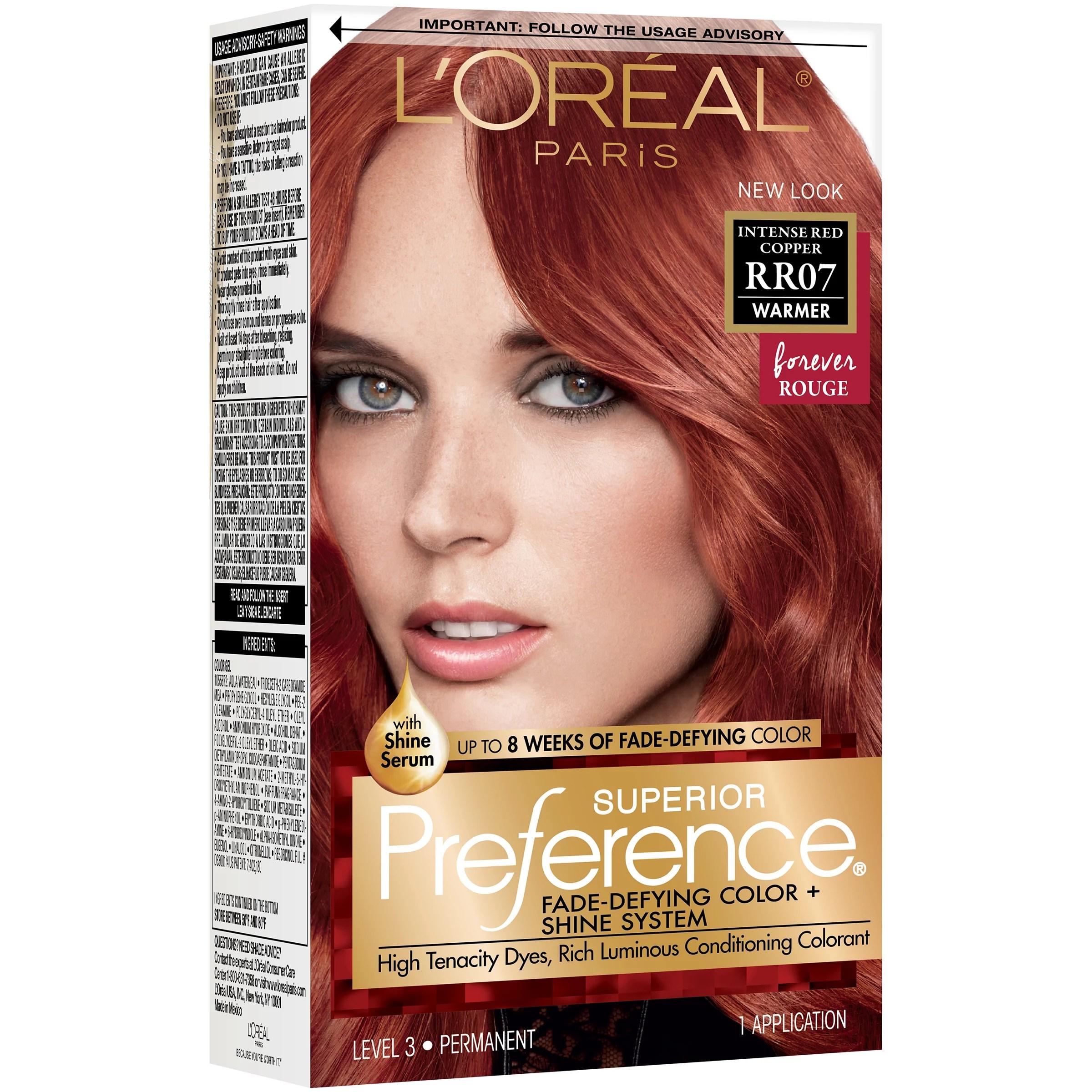 L Oreal Paris Superior Preference Permanent Hair Color Rr 07 Intense Red Copper Shop Hair Color At H E B