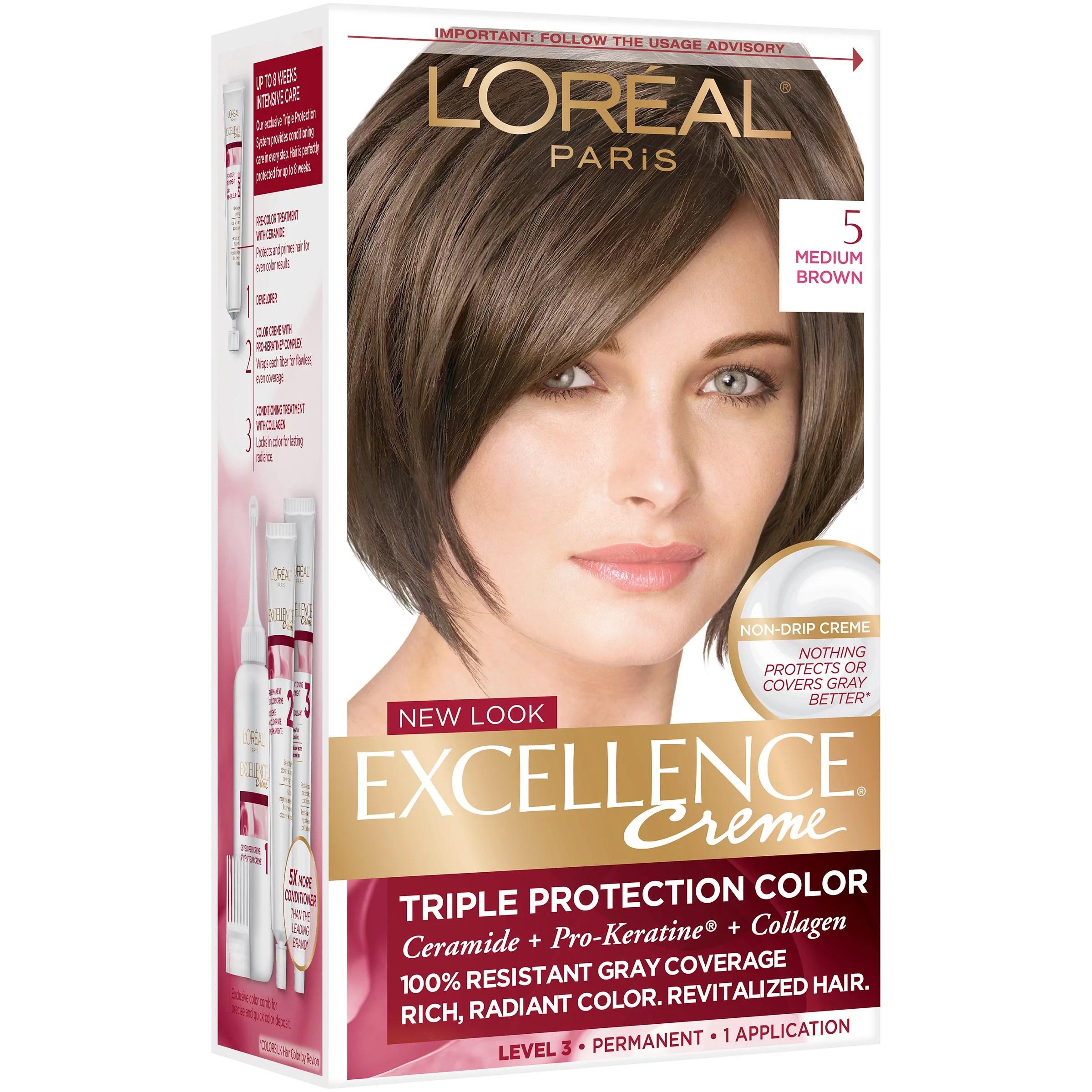 L Oreal Paris Excellence Creme Permanent Hair Color 5 Medium Brown Shop Hair Color At H E B
